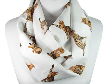 Cat Scarf Bengal Cat Scarf Animal Infinity Scarf Christmas Gift For Her For Women For Cat Lover For Pet Mom Spring Scarf Women Accessories