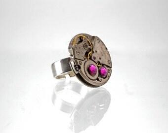 Ring watch style Steampunk Swarovski pink