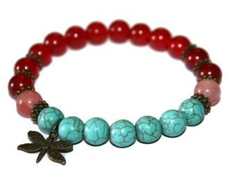 Dragonfly Bracelet Red Ruby Bracelet Turquoise Jewelry Bracelets for Women Gift for Mother Sister Gift Bracelets for Mom Healing Stones