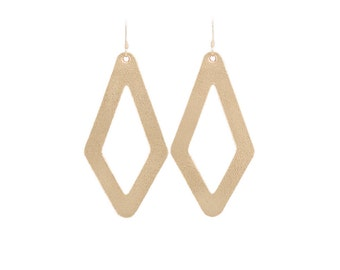 Leather earrings,  statement earrings,  cut out earrings, Gold earrings,  modern earrings,  Geometric earrings,  diamond earrings