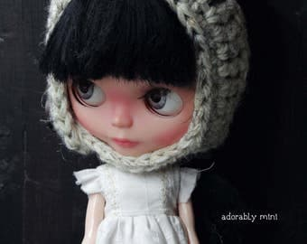 Blythe Doll Crochet Pixie Hat - Oatmeal color with button