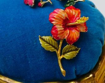 Vintage Married Rafaelian Enamel and Goldtone Hibiscus Brooch and Coro Earrings