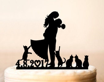 wedding cake topper with date,Cake topper with cats,silhouette cake topper with five cats,cats cake topper,Topper for wedding cats (0170)