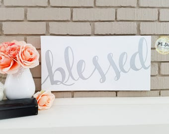 Blessed Quote, Hand Painted Acrylic Canvas, White And Silver, Modern Calligraphy, Wall Art, Home Decor, Housewarming Gift, Wedding Present