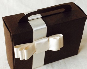 10 NUTKIN Suitcase Box Favours, Marzycards Luxury CARD Woodland Wedding Birthday Party Gift  Box Bags, Chocolate Brown