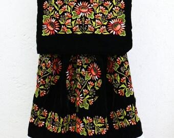"""Ethnic Tehuana dress """"vestido de Tehuana"""": Black velvet with hand-woven flowers, style Frida Kahlo"""