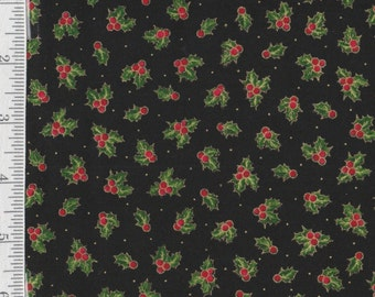 Sounds of the Season - Per Yd - Quilting Treasures -Holly on Black