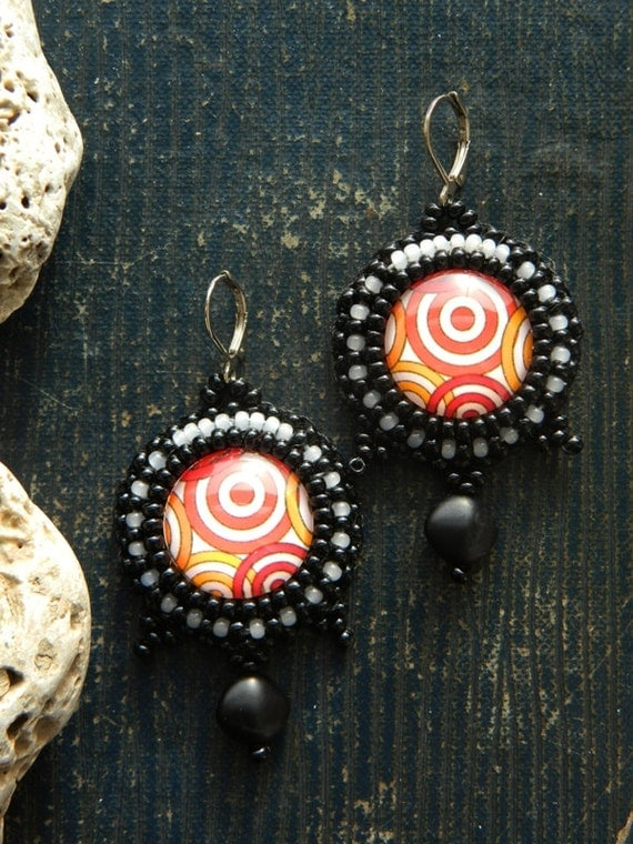 Circle Earrings Multicolor Handmade Earrings Bead