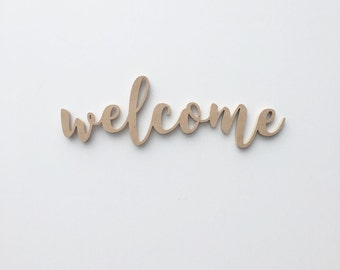 Welcome Wood Sign / Housewarming Gift / Wall Decor / Handwritten Cursive Cutout / Office Decor