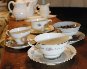 Tea Party Set of Coordinating Cups and Saucers -003