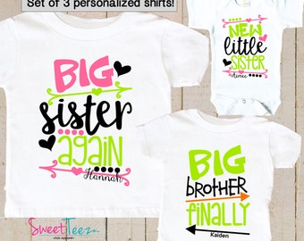 Big Sister Again Shirt SET of 3 Little Sister Big Brother Finally Personalized Arrow Hip Sibling Big Brother Shirts bodysuit SET