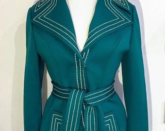 1960s LILLI ANN Emerald Stitched Jacket • Rare Vintagr Jacket • Adolph Schuman Lilli Ann Coat