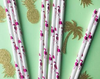 Flamingo Paper Straws • Pink Foil Straws • Tropical Theme • Bridal Shower Decor • Baby Shower Decor • Bachelorette Party • Pack of 25