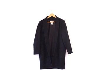 Vintage wool and cashmere Paris coat / Knee length Guy Laroche coat / French cashmere coat / Modern cashmere jacket / Open wool coat