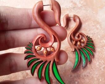 Fake gauge earrings, Wings, fake gauges, fake earrings, wood earrings, hand carved jewelry, handpainted earrings, best selling items
