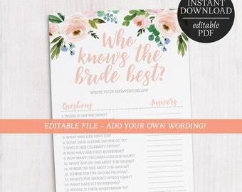 Who Knows The Bride Best Editable Game | How Well Do You Know The Bride Editable | Floral Game | Bridal | Bachelorette | Hens Party Games