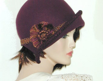 Ms. Fisher Custom Convertible ~Mary~ 3 in 1 cloche with velvet- Downton Abbey hat, Great Gatsby hat