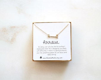 Dainty Arrow Necklace, Quote message Card, Valentines Gift, Birthday Gift