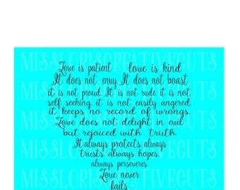 1 Corinthians 13:4-8 Love is patient Love is kind  Heart scripture Valentines SVG Cut file  Cricut explore file