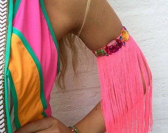 Neon Pink Long Tassel Fringe Diamond Jewel Arm Cuff