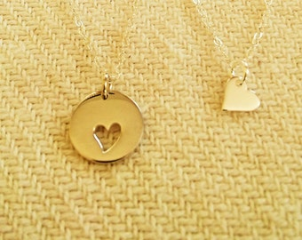 Mother & Doughter Heart Cut Out Necklace, Mother and Doughter Rooted in One Heart  Necklace, Mother Doughter Silver Set