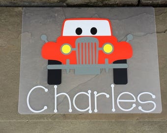 Truck placemat- personalized placemat- name placemat- personalized boy's placemat- placemat for boy- truck gifts- truck boy present- kids