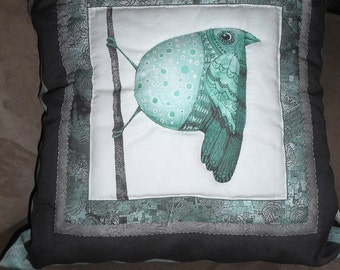 Whimsical Bird Pillow, Hand Quilted Decorative Pillow, Vertical Bird Quilted Pillow (1)