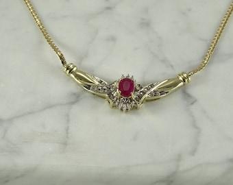 """14K Gold / Ruby / Diamond Necklace (15 1/2"""")"""