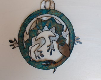 Patina Lizard Ornament