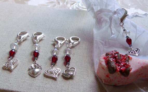 Red crystal silver heart charms, bag/gift/purse/journal ornaments, valentines gift, wedding favors, bridesmaid momento ,  sweet heart gift