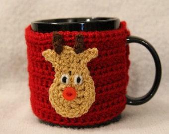 Dark Red Reindeer/Rudolph Christmas Handmade Crochet Mug Cosy / Cozy