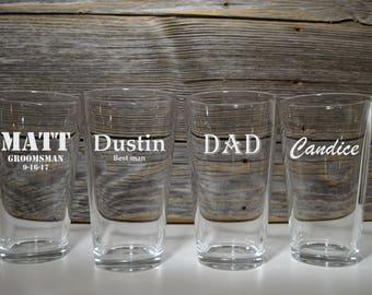 Set of 8 Pint Glasses, Personalized Pub Glasses, Beer, Wedding Glasses, Groomsmen gifts, Gift for Best Man Groomsman, Dad, Grandpa, Husband