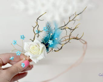 Blue feather crown rustic head wreath branches head piece fairy woodland crown bridal forest hair accessory blue headband Boho