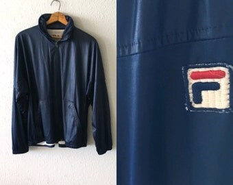 1970's Fila Vintage Bomber Jacket with Hidden Hoodie Made in Italy