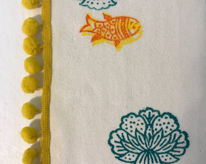 Baby Blanket / Organic Cotton Velour / Sherpa / Gold Fish / Indian Print / Toddler / Boy Girl / Warm / Gift / Swaddle / Nursery Décor / Crib