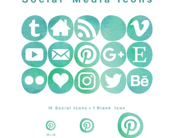 15 Web & Blog Social Media Icons - Smooth Bleb-like Shape in Seafoam Watercolour - PNG files