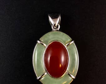 Sterling silver and jade and carnelian pendant, 13.9 grams