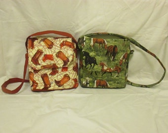 Quilted Cowboy Boot Messenger Bags