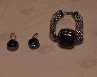 Large Blue Bracelet and Earring's