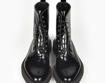 Combat Boots, Gothic Shoes, Womens Boots, Black Shoes, Leather Boots, Patent Shoes, Biker Boots, Black Leather Boots, Rocker Boots