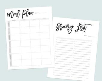 Printable Grocery List, Printable Meal Planner, Meal Planning Checklist, Weekly Meal Planner,