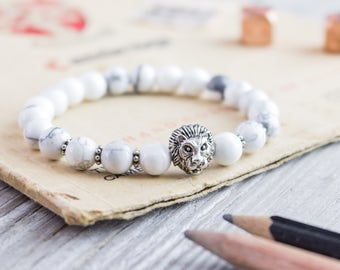 8mm - White howlite beaded silver Lion head stretchy bracelet, made to order yoga bracelet, mens bracelet, womens bracelet