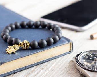 8mm - Matte black onyx beaded stretchy bracelet with gold micro pave Hamsa hand charm & ball, made to order bracelet