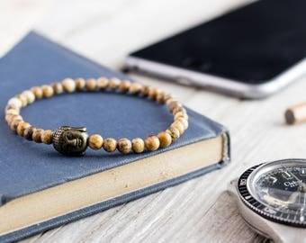 4mm - Jasper stone beaded bronze Buddha stretchy bracelet, custom made yoga bracelet, beaded mens bracelet, womens bracelet