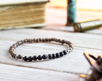 4mm - Matte black onyx beaded stretchy bracelet with coconut beads, made to order yoga bracelet, mens bracelet, beaded bracelet, casual