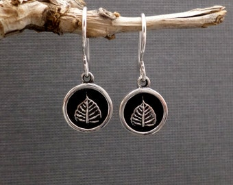 ON SALE + Free Shipping. Silver Leaf Earrings. Zen Yoga Jewelry. Leaf Charm. Sterling Silver. Bodhi Leaf. Simple Everyday Jewelry Gift.