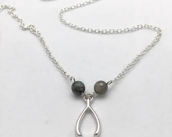 Silver wishbone necklace, wishbone jewelry, lucky jewelry, Labradorite Jewelry, CsDezigns