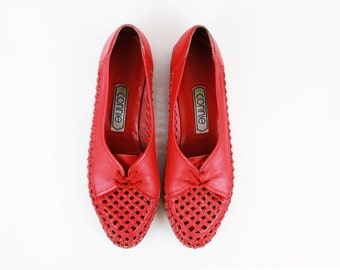 Vintage Red Woven Leather Oxford Flats size 8.5