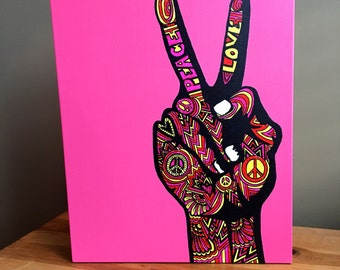 Hipster Canvas Art - Peace Sign Wall Art - Home Decor - Pink Canvas - Typography Art - Drawing - Markers