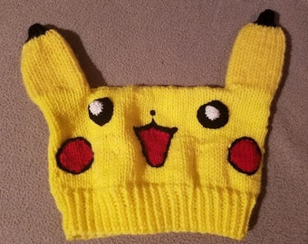 Hand Knit Pikachu Pokemon Hat: Ships Immediately!